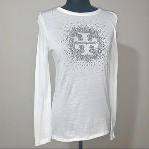 Tory Burch Rhinestone Logo Long Sleeve Shirt